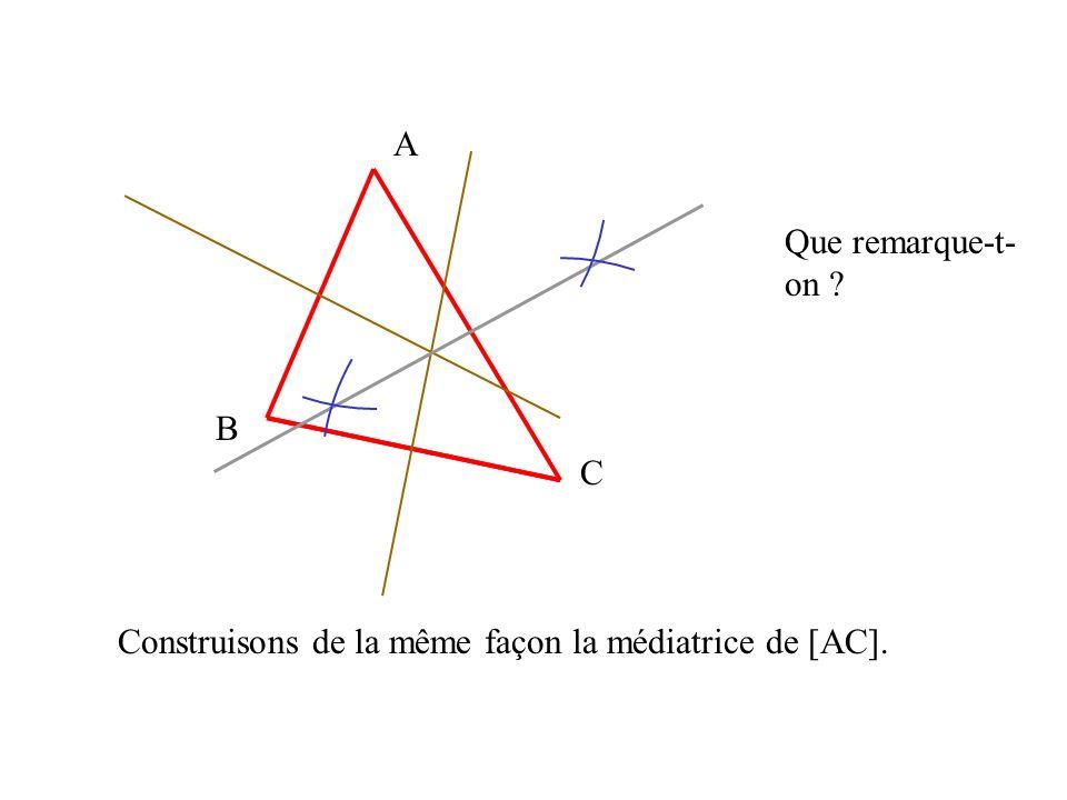 A B C Que remarque-t-on Construisons de la même façon la médiatrice de [AC].